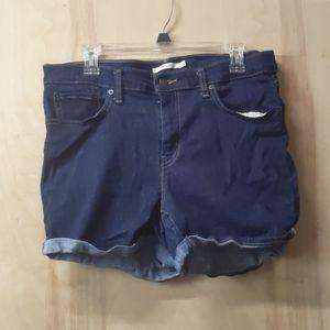 Levi's jean shorts mid length dark blue size 32